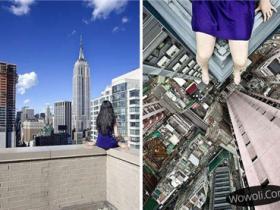 女摄影师高楼边缘自拍