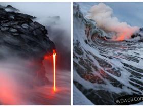 摄影师拍岩浆入海